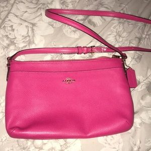 coach hot pink crossbody leather purse